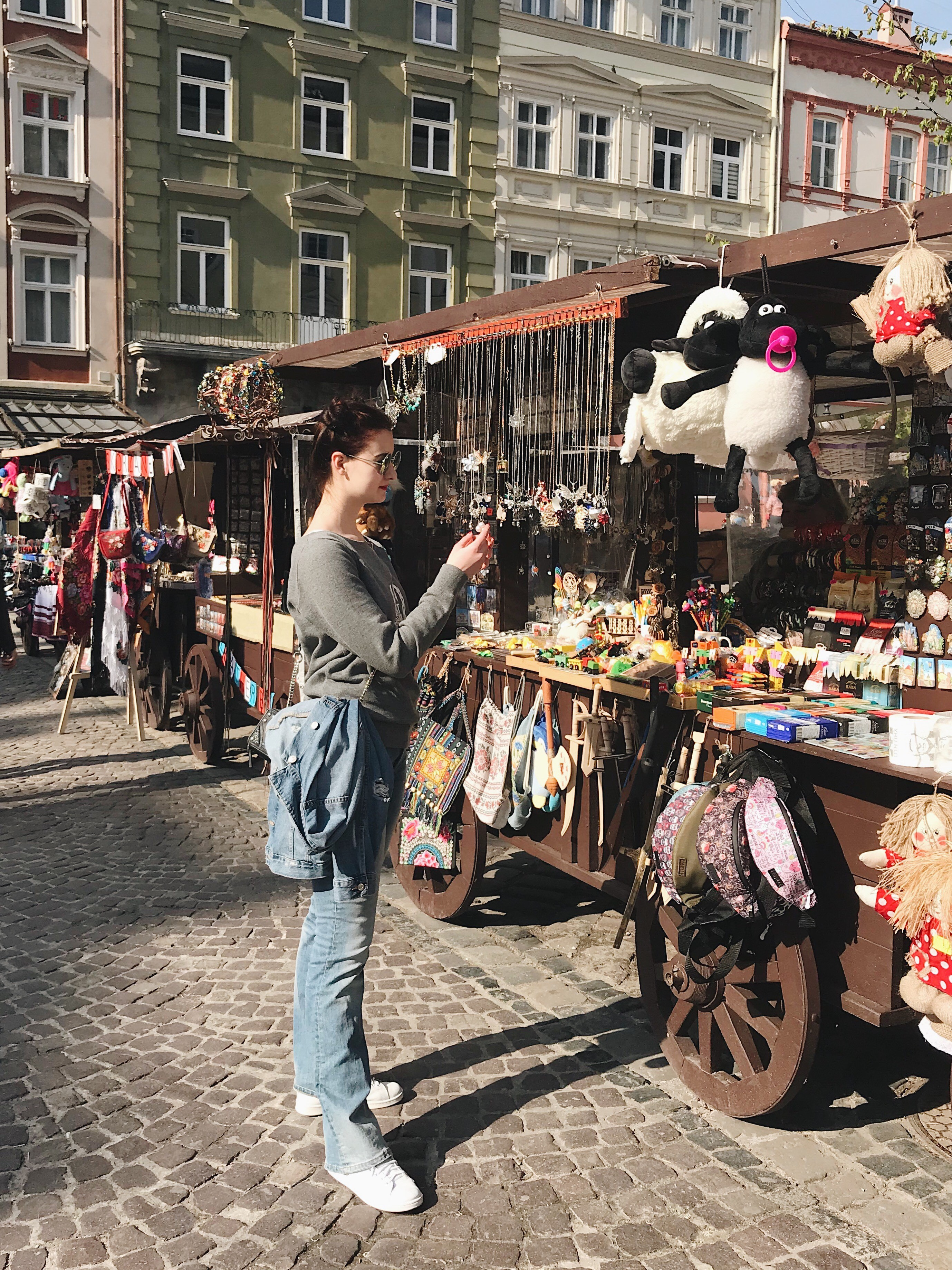 Audition Director Anna Trofimova shops at a Ukrainian street market.