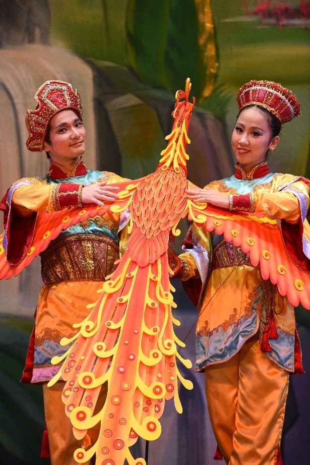 Asian Variation Dancers and the Firebird Puppet