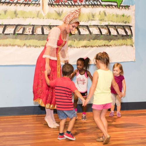 ballerina lana and children learn russian folk dance