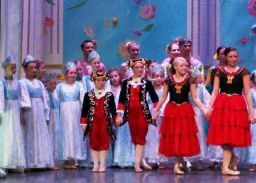 Students perform onstage with Moscow Ballet