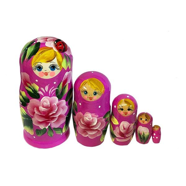 Moscow Ballet Purple Lady Bug Floral Nesting Doll